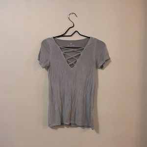 American Eagle Soft and Sexy Crisscross Tee